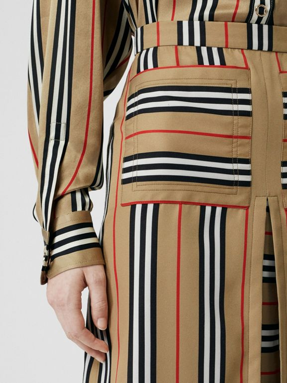 Box Pleat Detail Icon Stripe A-line Skirt in Archive Beige - Women | Burberry - cell image 1