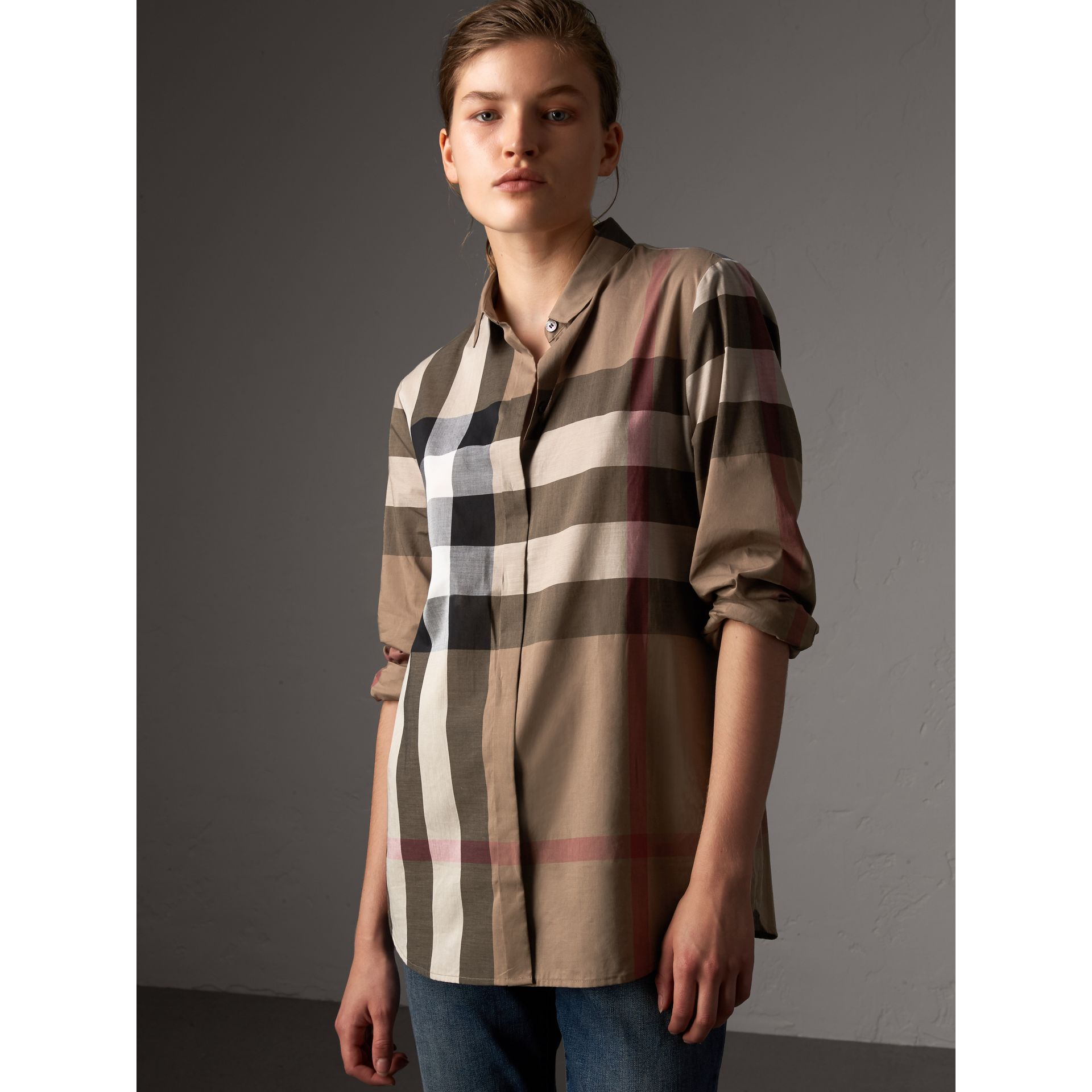 Check Cotton Shirt in Taupe Brown - Women | Burberry Australia - gallery image 1