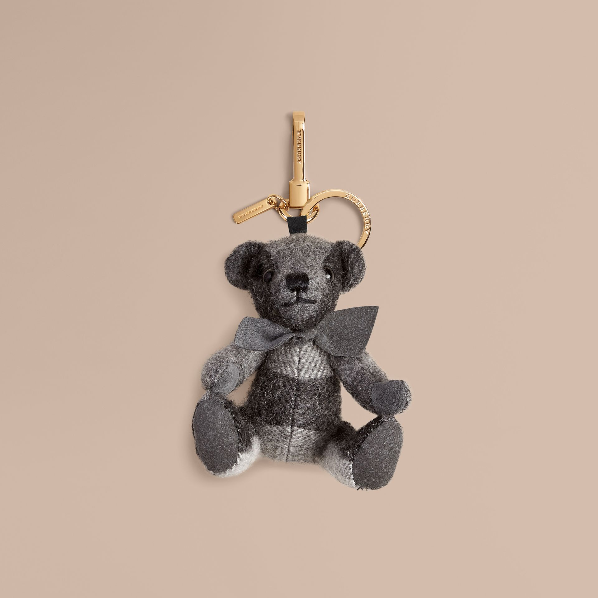 Thomas Bear Charm in Check Cashmere in Mid Grey | Burberry Hong Kong - gallery image 1