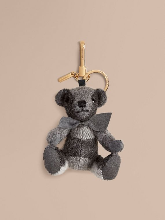 Thomas Bear Charm in Check Cashmere in Mid Grey | Burberry Canada