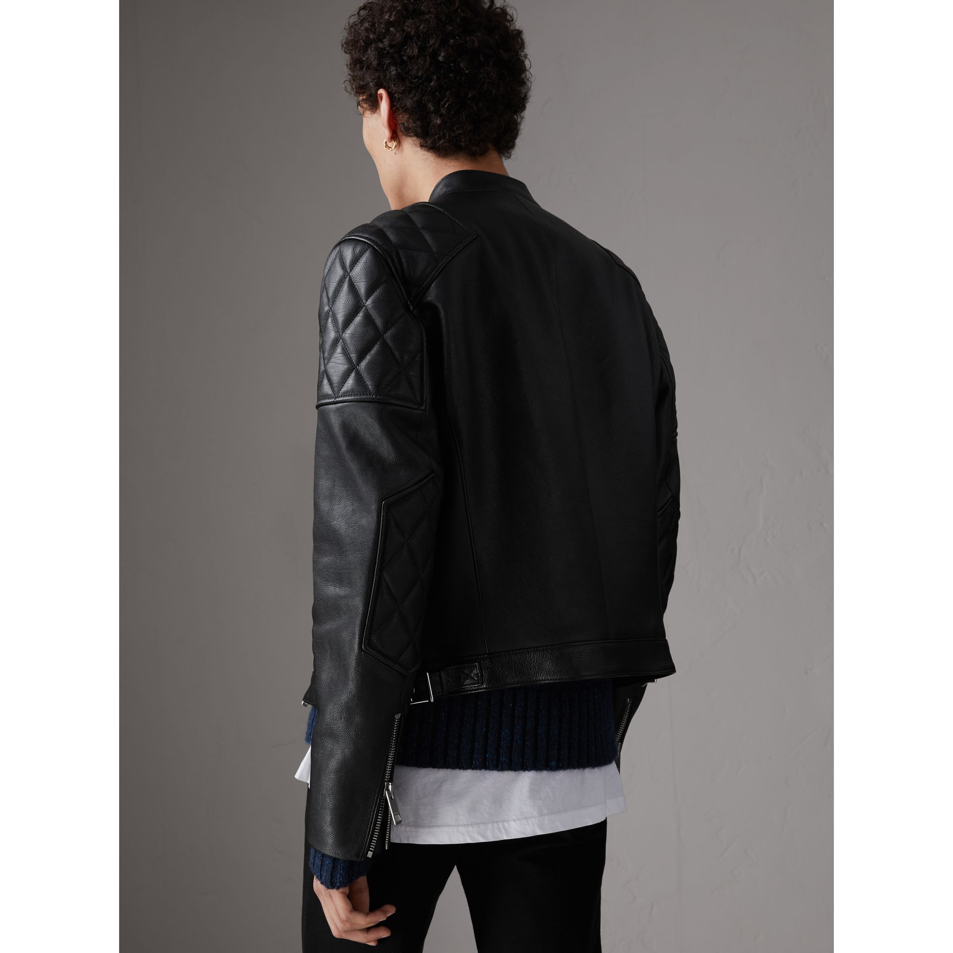Diamond Quilted Detail Leather Biker Jacket in Black - Men | Burberry - gallery image 2