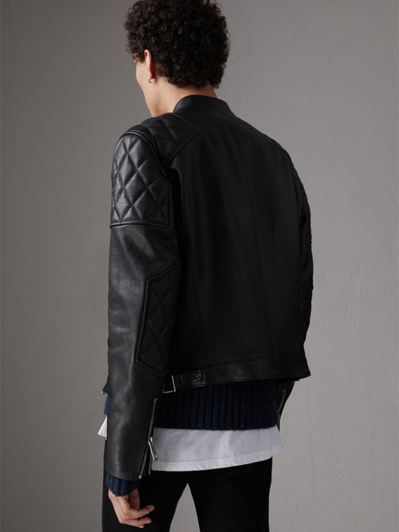 Diamond Quilted Detail Leather Biker Jacket in Black - Men | Burberry United Kingdom - cell image 2