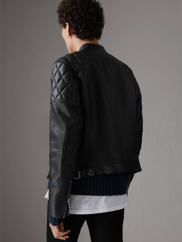Diamond Quilted Detail Leather Biker Jacket in Black - Men | Burberry - cell image 2