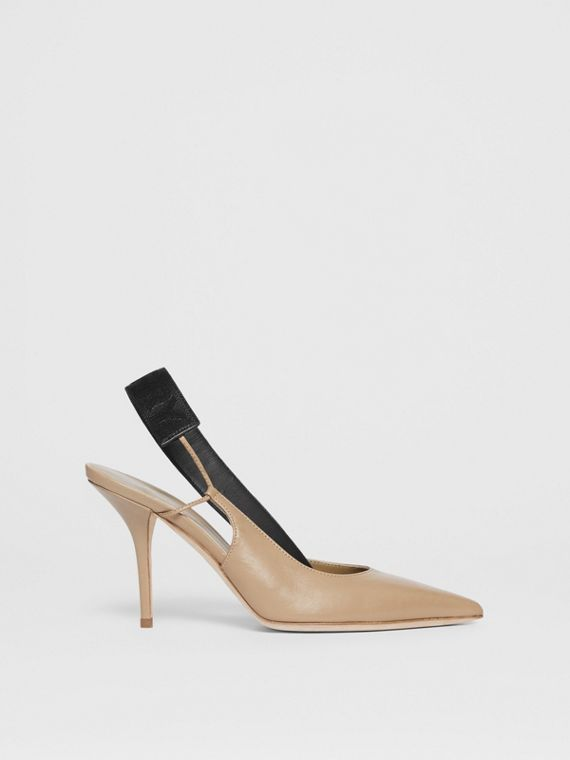 Logo Detail Lambskin Slingback Pumps in Dark Honey