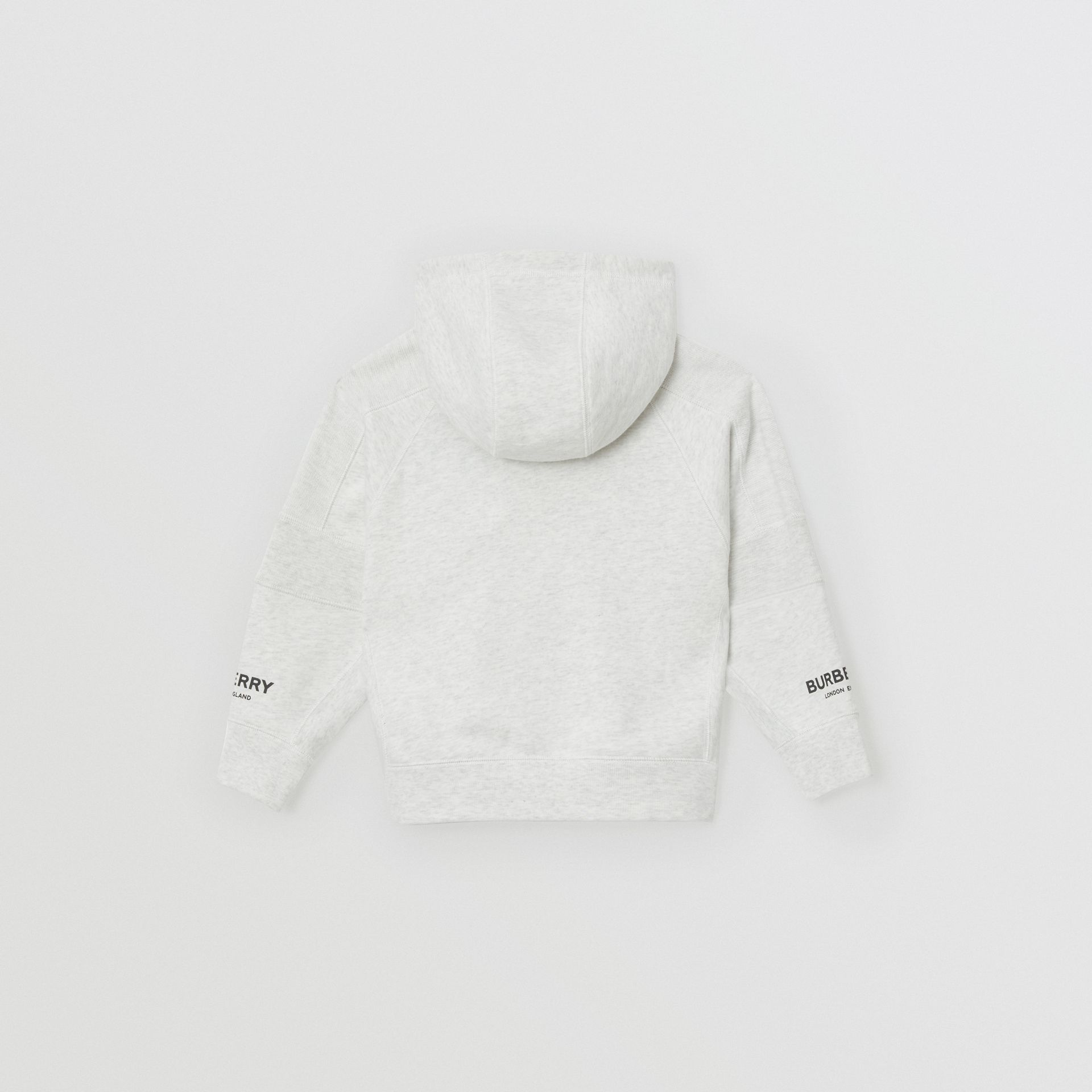 Logo Print Cotton Hooded Top in White Melange | Burberry - gallery image 3