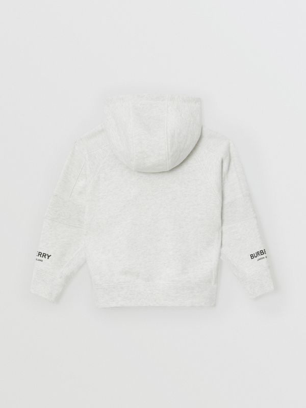 Logo Print Cotton Hooded Top in White Melange | Burberry - cell image 3