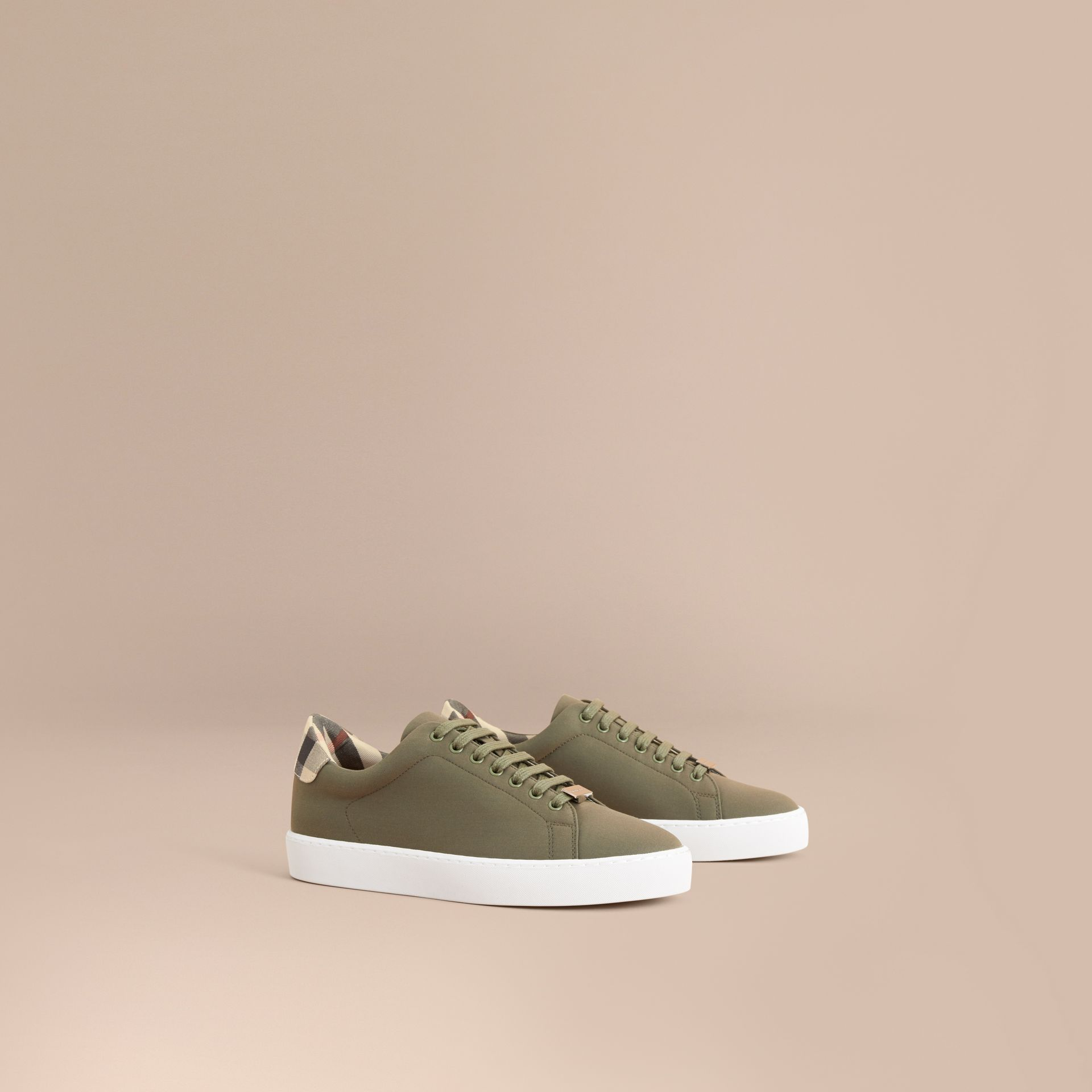 Check Detail Cotton Trainers in Oregano - Women | Burberry Canada - gallery image 1