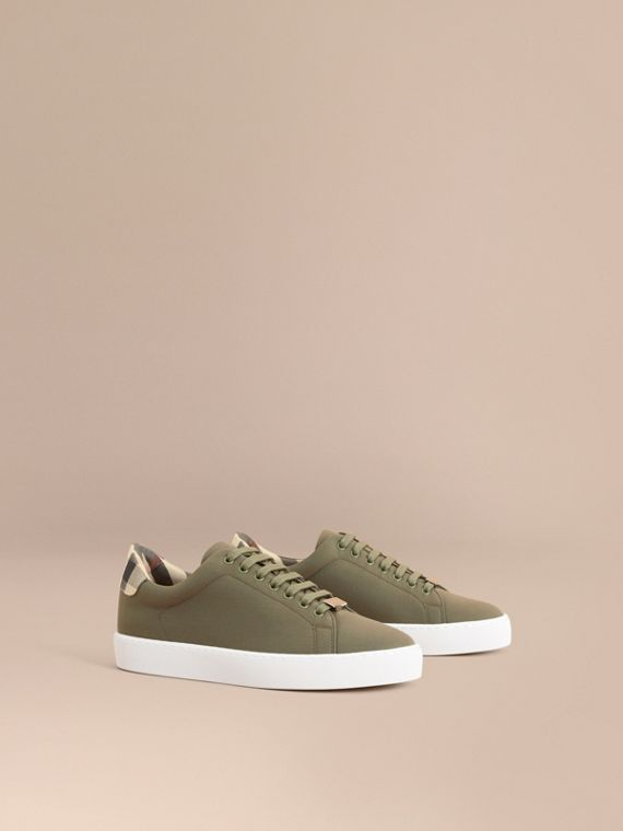 Check Detail Cotton Trainers Oregano