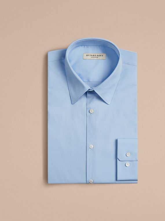 Slim Fit Stretch Cotton Shirt in City Blue - Men | Burberry
