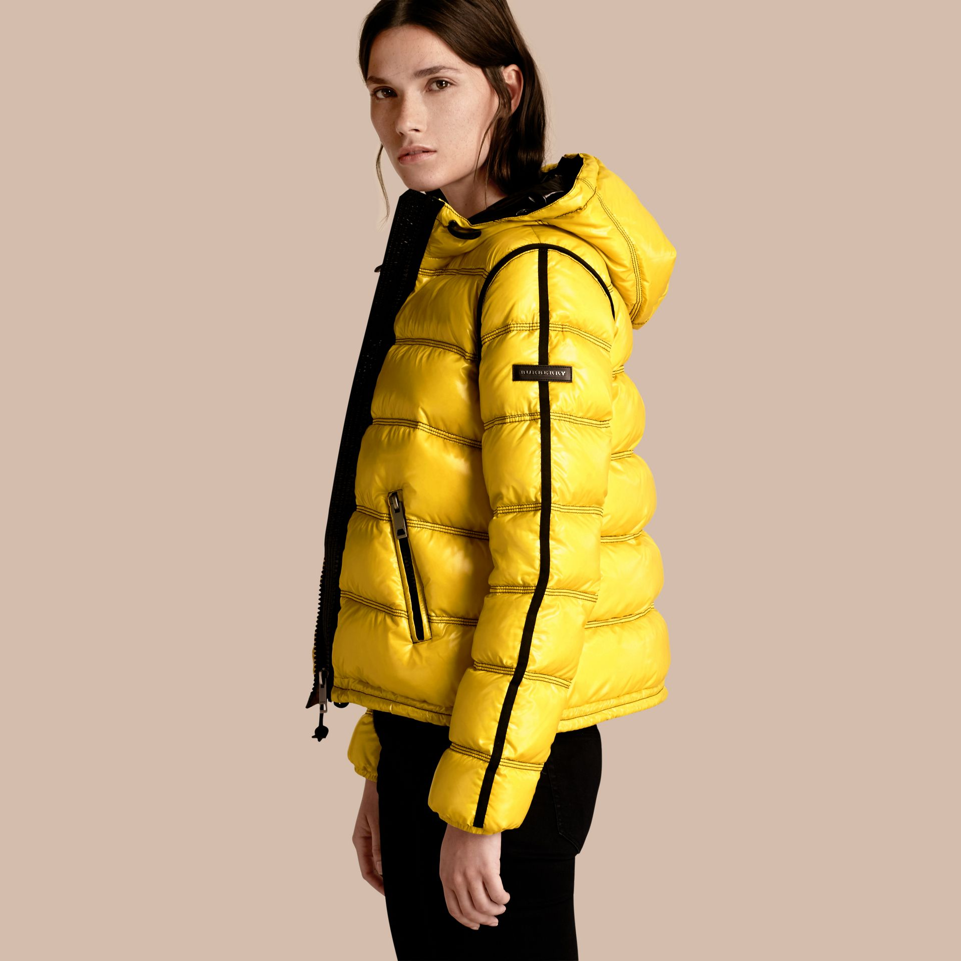 Cornflower yellow Glossy Hooded Puffer Jacket with Sporty Detailing - gallery image 1