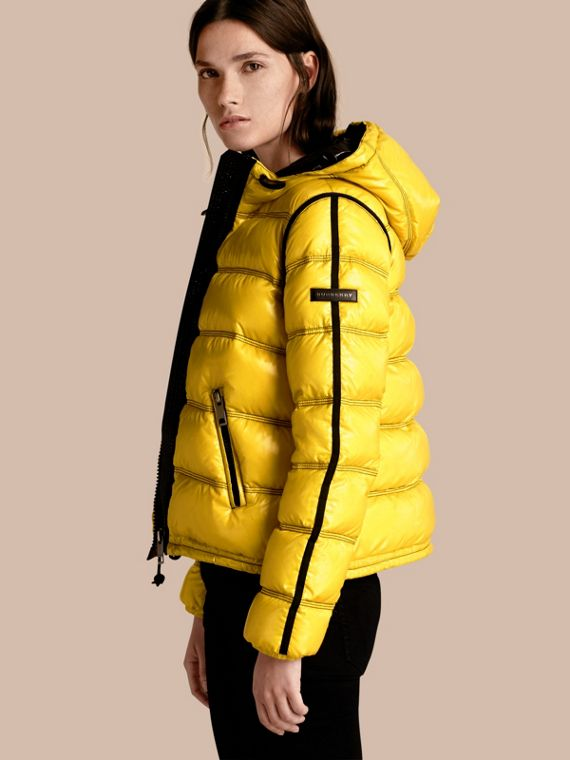 Glossy Hooded Puffer Jacket with Sporty Detailing