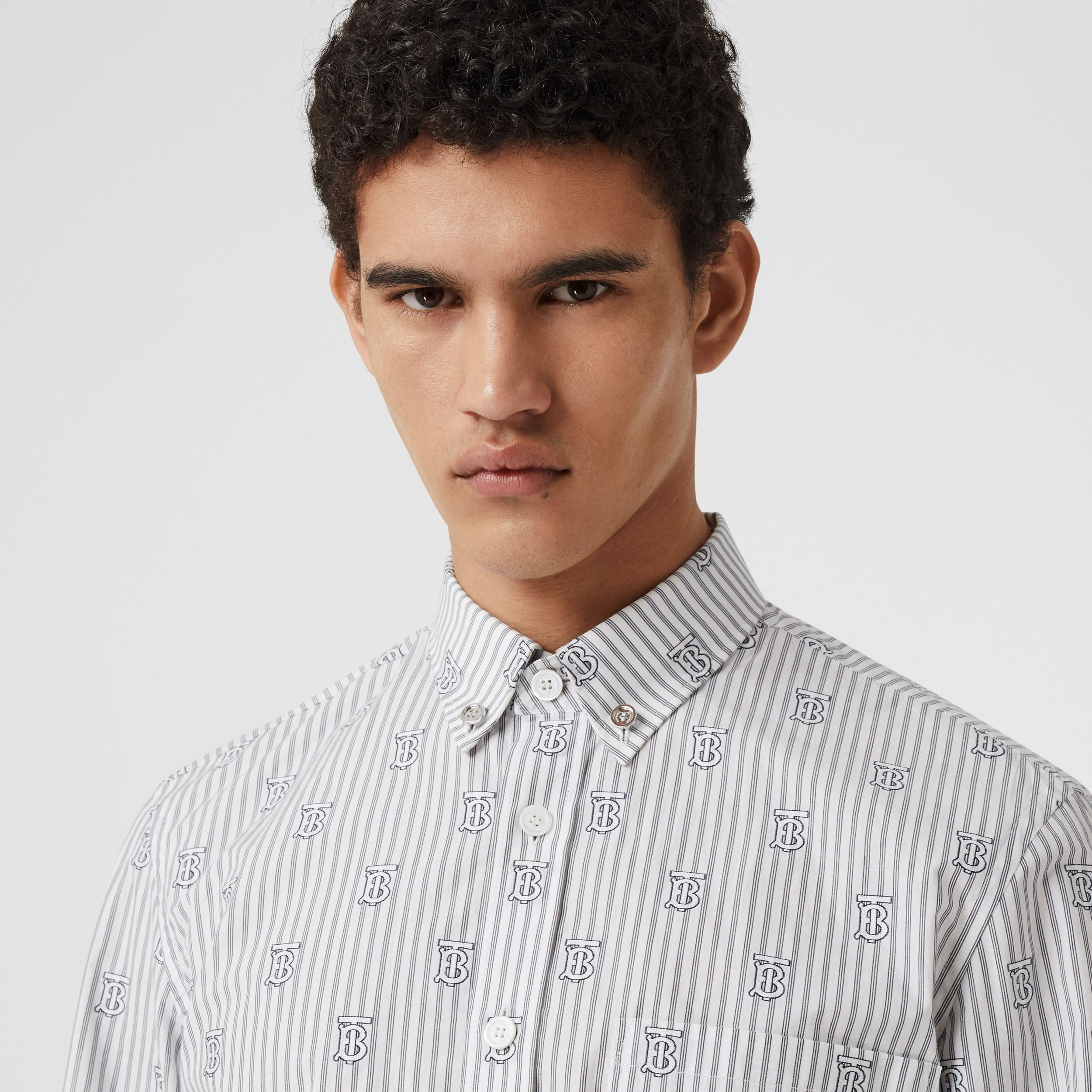 Slim Fit Monogram Motif Pinstriped Cotton Shirt in White - Men | Burberry - 2