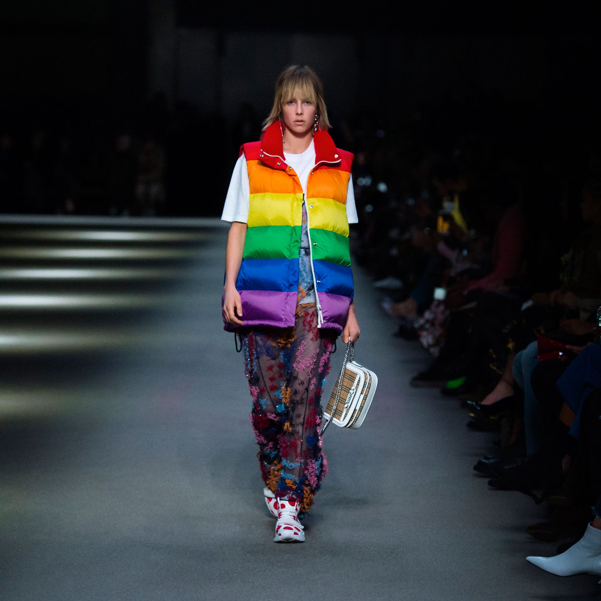 Rainbow Down-filled Gilet in Multicolour - Women | Burberry - gallery image 5