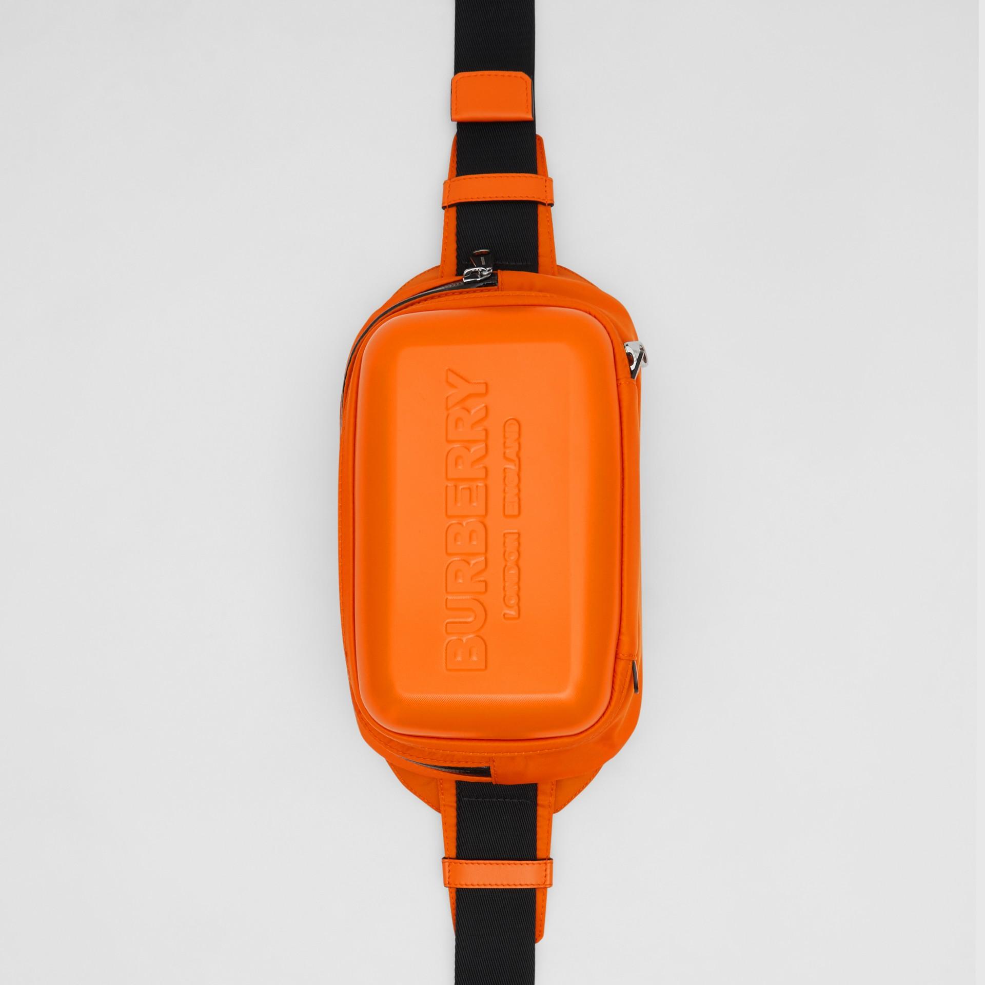 Logo Embossed Panel Nylon Bum Bag in Bright Orange - Men | Burberry United Kingdom - gallery image 2