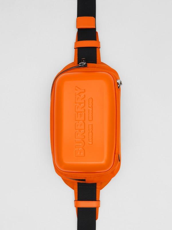 Logo Embossed Panel Nylon Bum Bag in Bright Orange - Men | Burberry United Kingdom - cell image 2