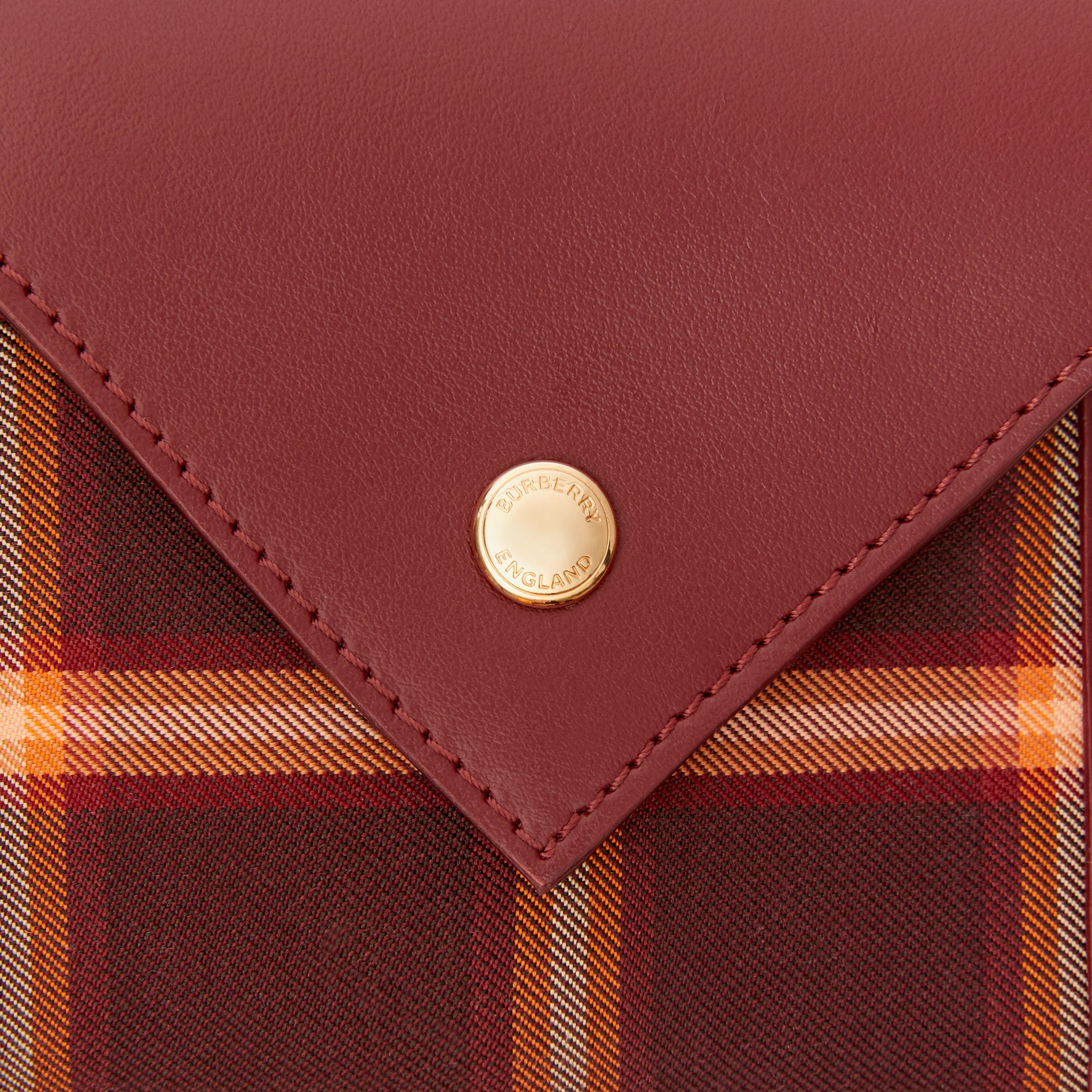 Tartan Technical Cotton and Leather Folding Wallet in Burgundy - Women | Burberry - 2