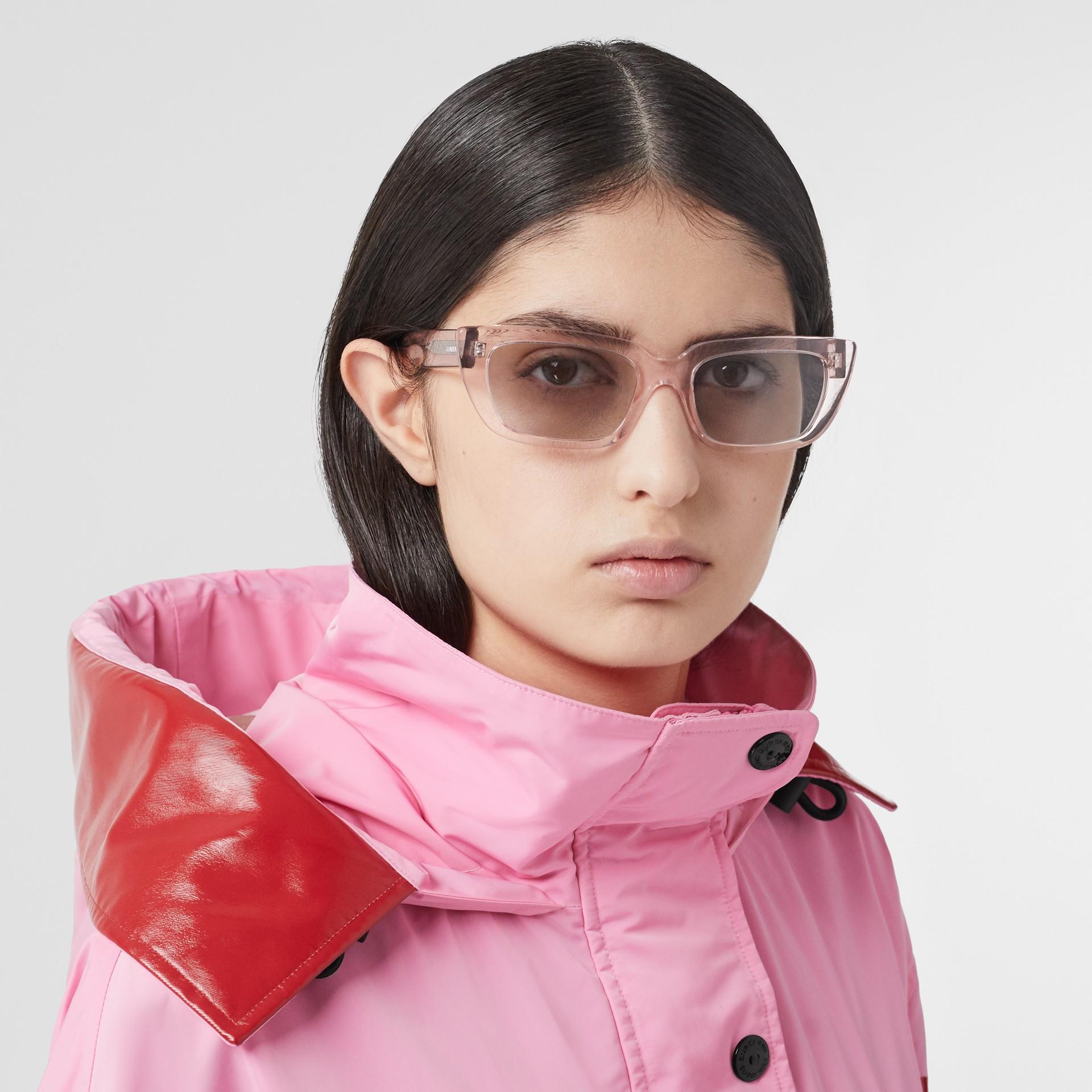 Bio-acetate Rectangular Frame Sunglasses in Light Pink - Women | Burberry - gallery image 2