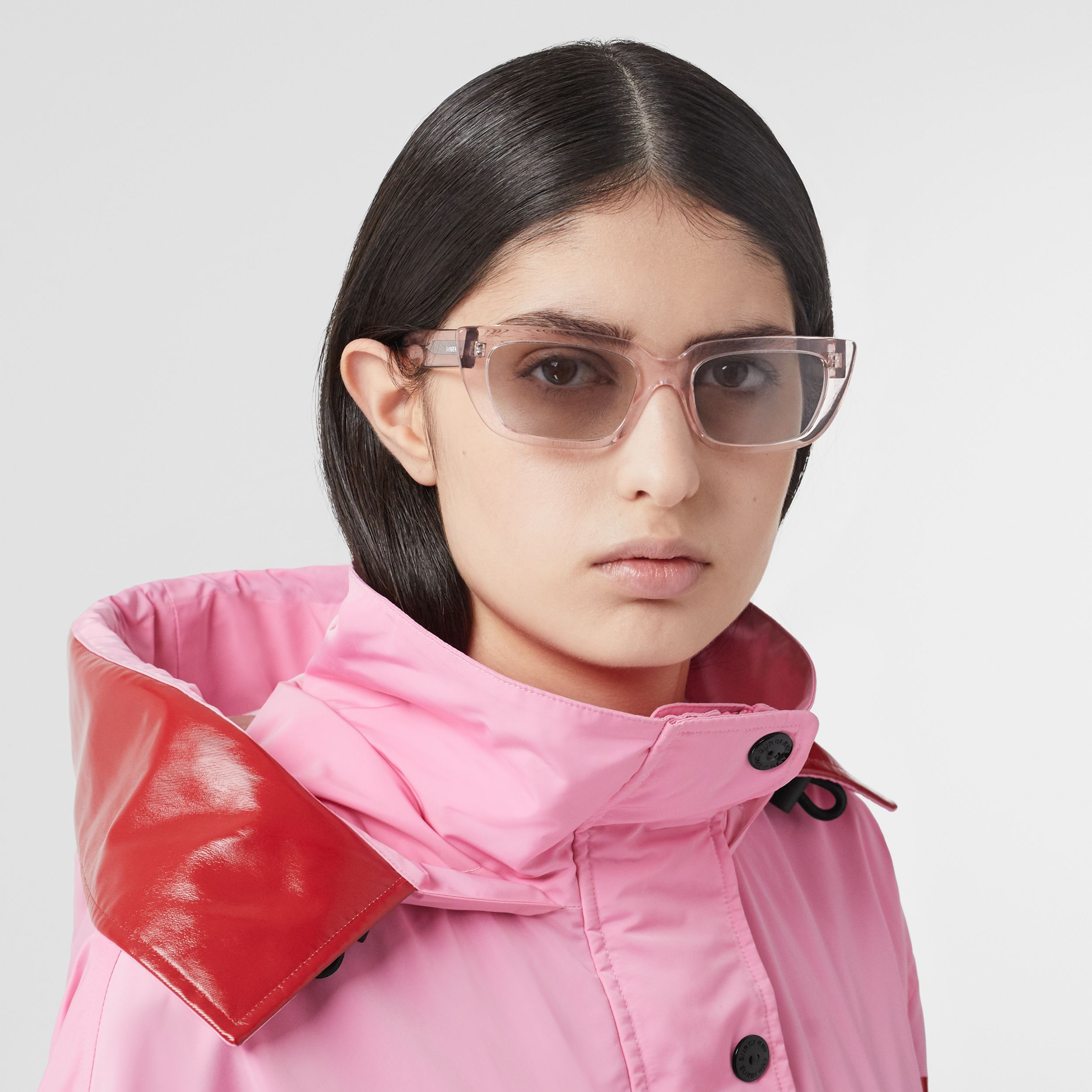 Bio-acetate Rectangular Frame Sunglasses in Light Pink - Women | Burberry Singapore - 3