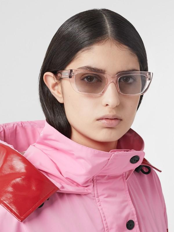 Bio-acetate Rectangular Frame Sunglasses in Light Pink - Women | Burberry - cell image 2