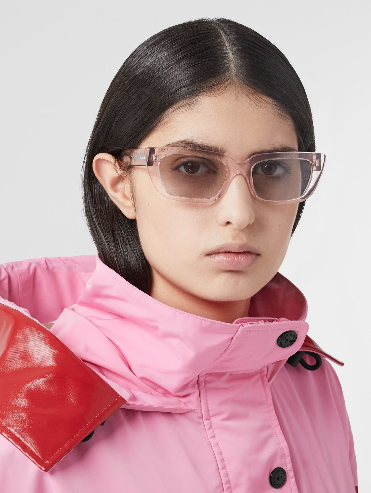 Bio-acetate Rectangular Frame Sunglasses in Light Pink