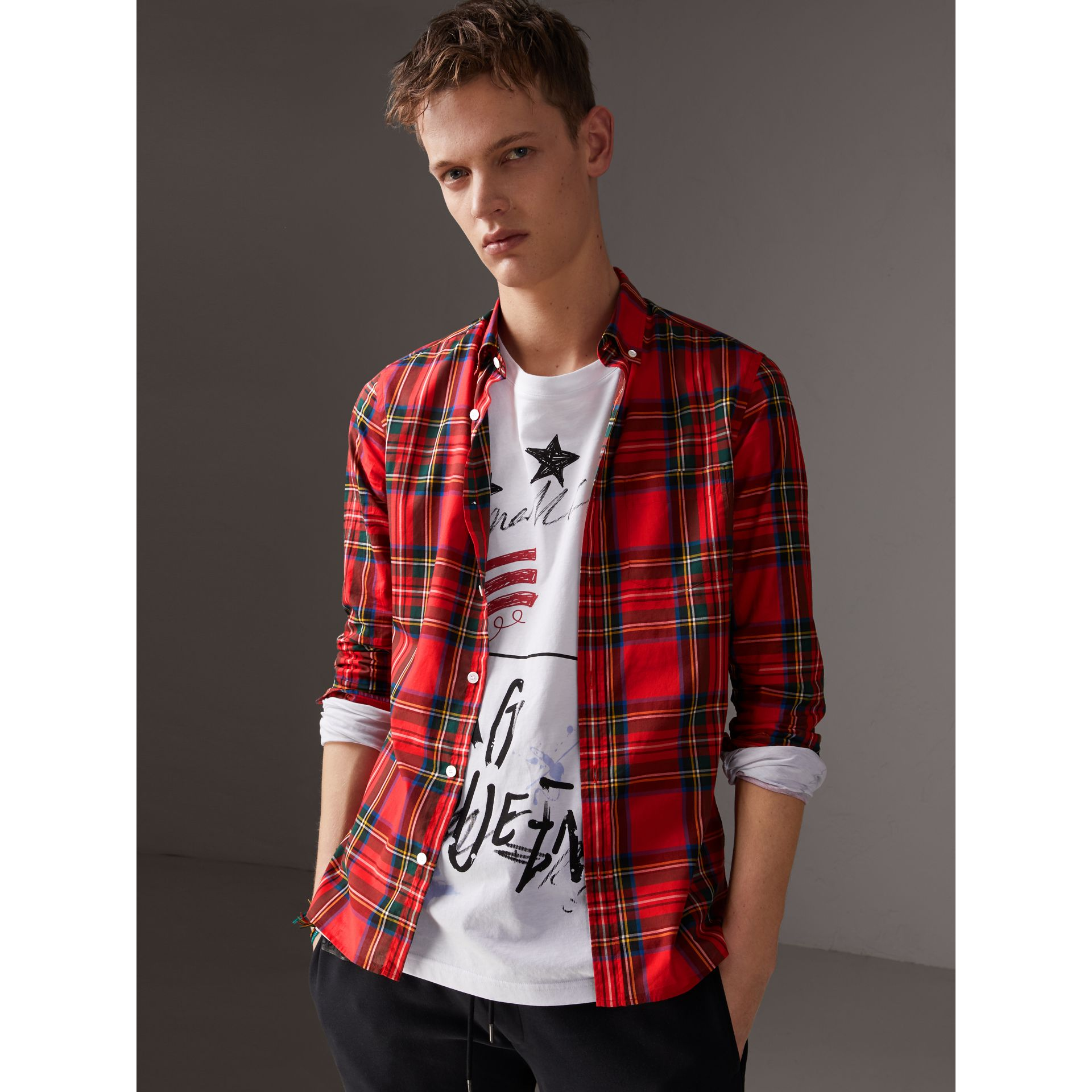Tartan Cotton Button-down Collar Shirt in Bright Red - Men | Burberry Australia - gallery image 4