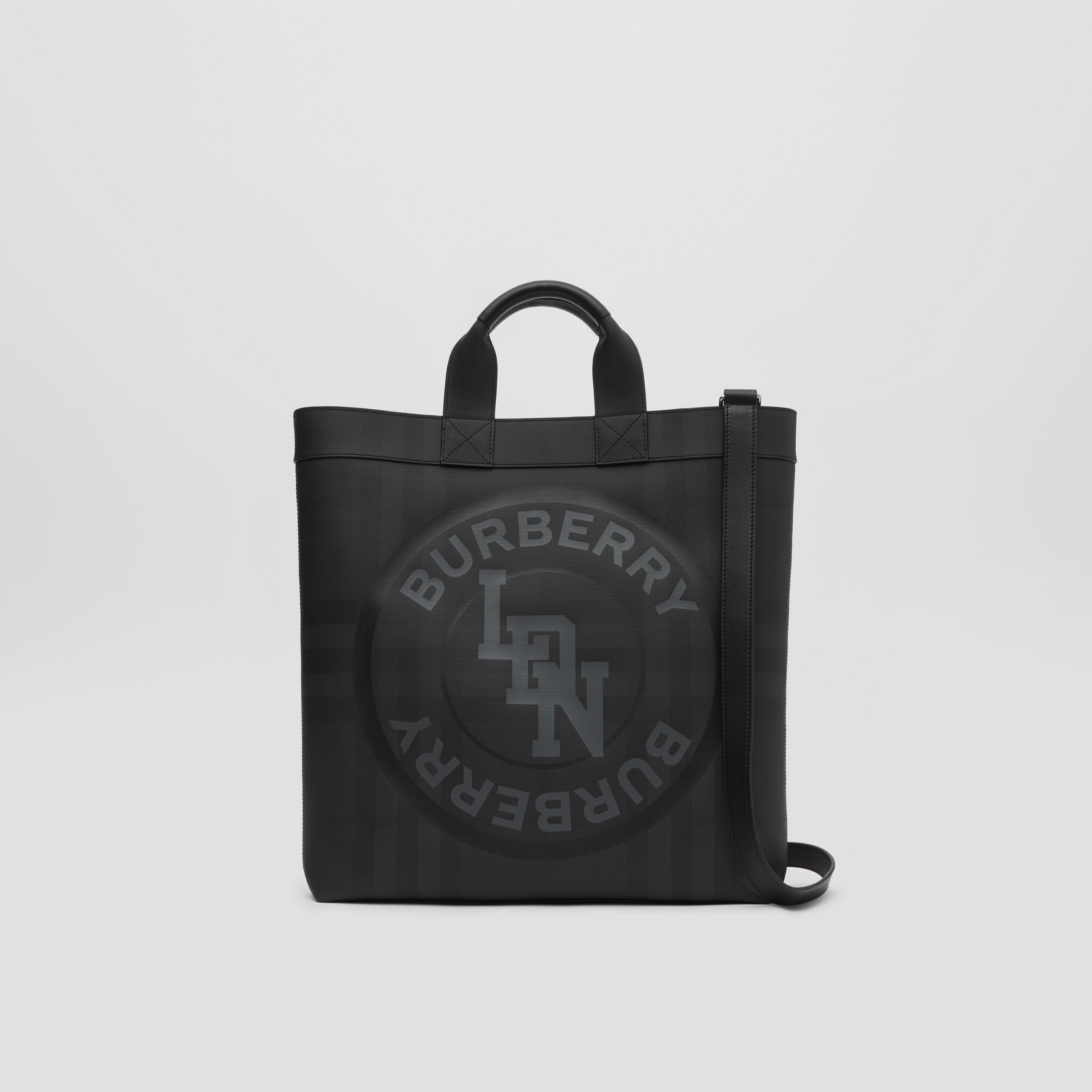 Logo Graphic London Check Tote in Dark Charcoal | Burberry - 1