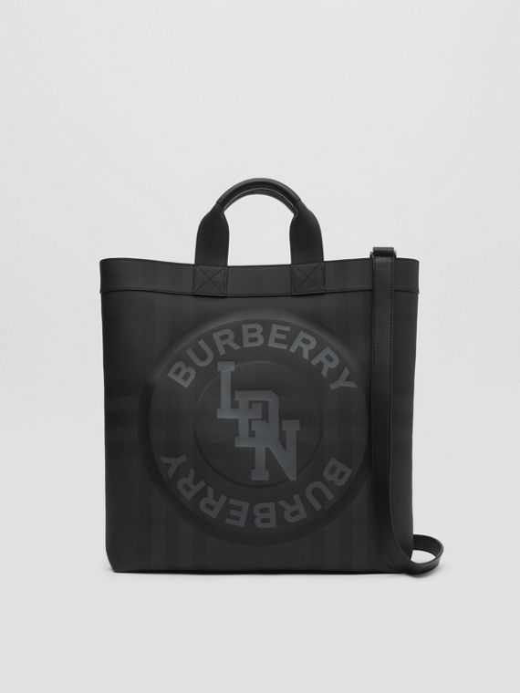 Logo Graphic London Check Tote in Dark Charcoal
