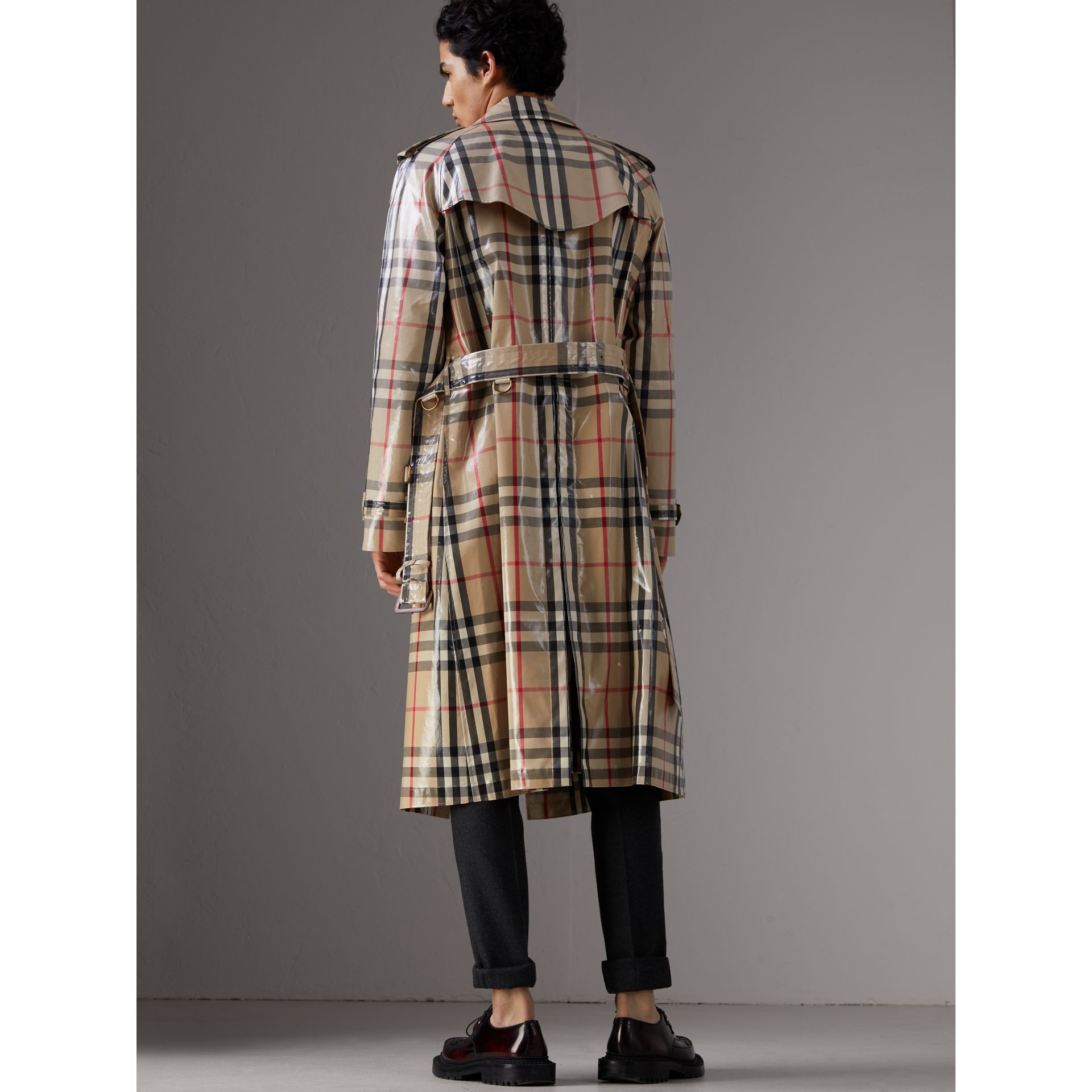 Laminated Check Cotton Trench Coat in New Classic - Men | Burberry - gallery image 2
