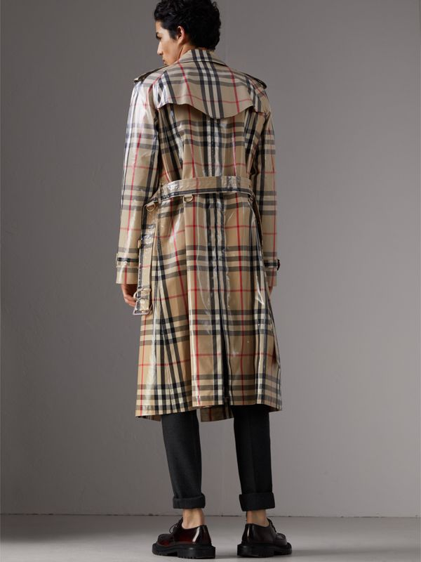 Laminated Check Cotton Trench Coat in New Classic - Men | Burberry - cell image 2