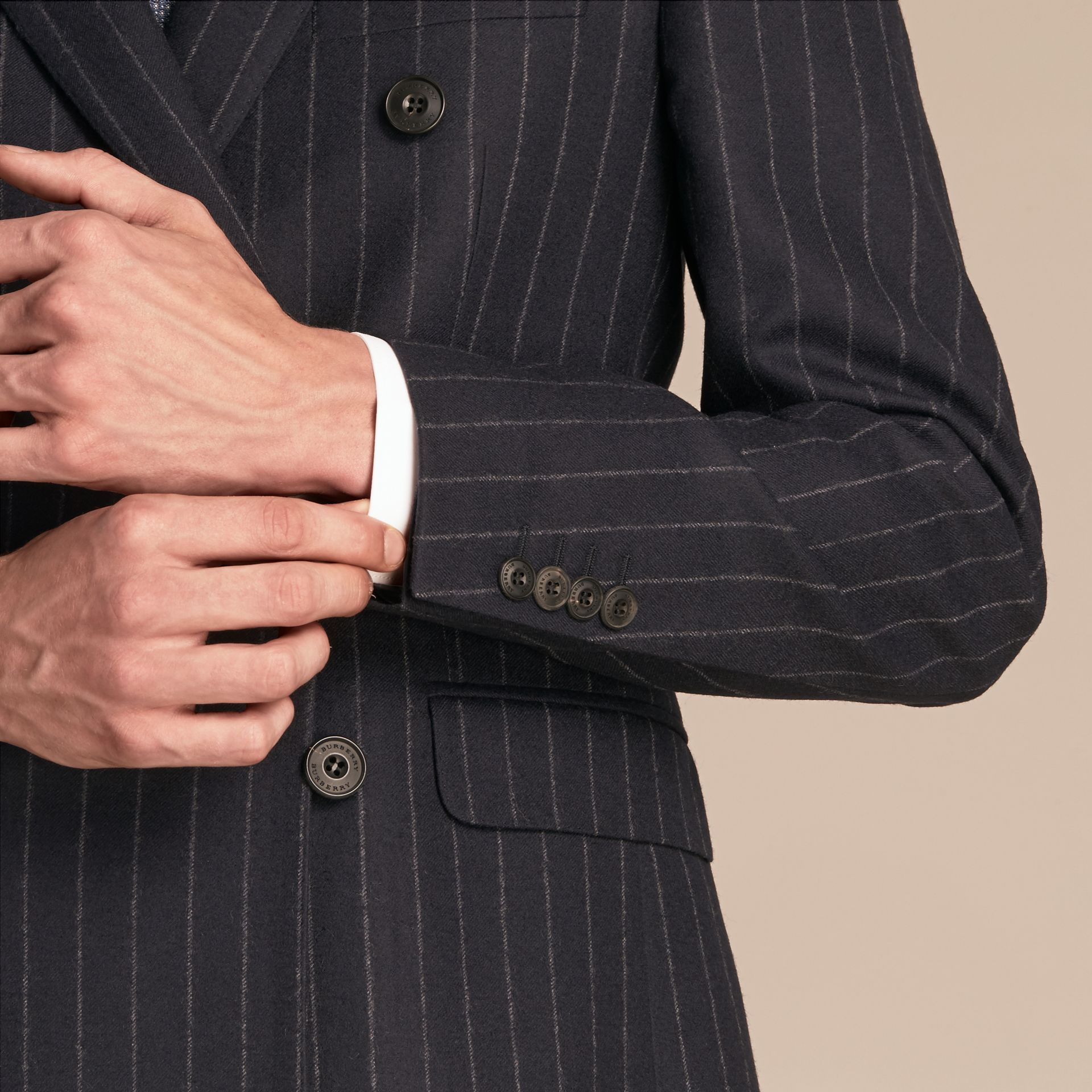 Navy Slim Fit Double-breasted Pinstripe Wool Suit - gallery image 5