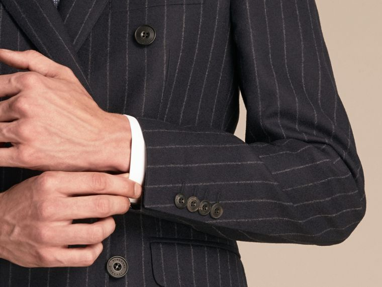 Navy Slim Fit Double-breasted Pinstripe Wool Suit - cell image 4