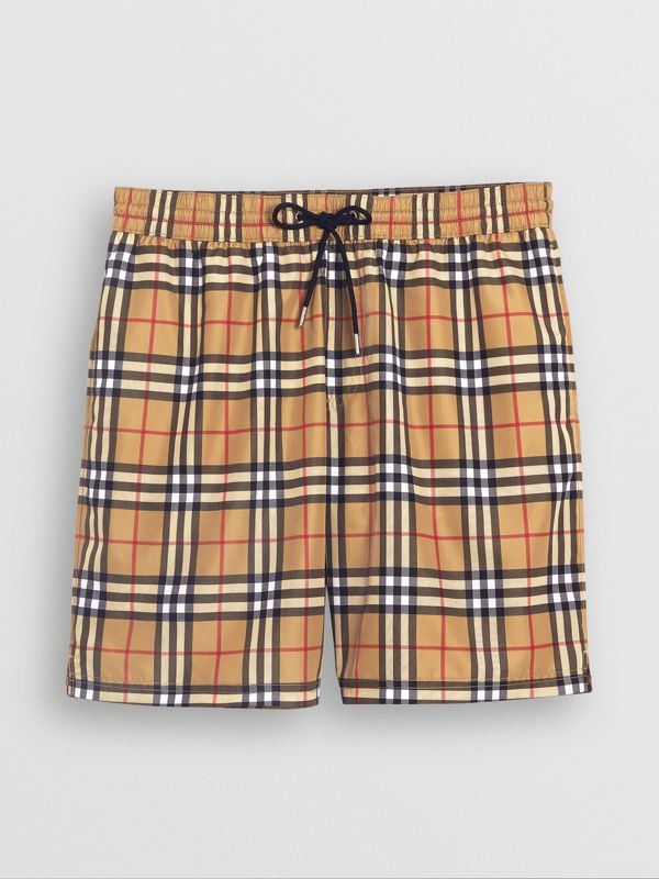 Vintage Check Drawcord Swim Shorts in Antique Yellow - Men | Burberry United Kingdom - cell image 3