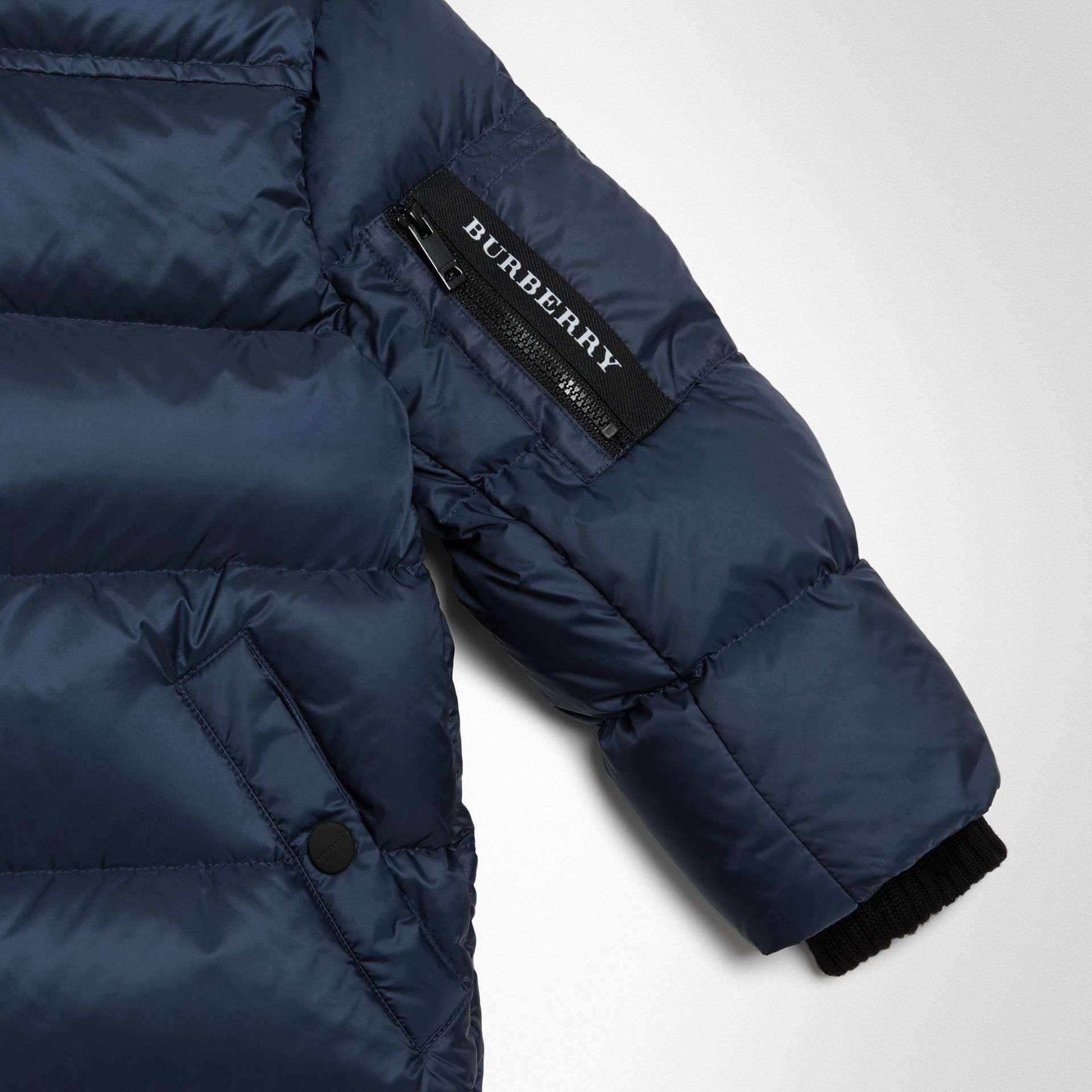 Detachable Hood Down-filled Puffer Coat in Navy | Burberry - gallery image 4