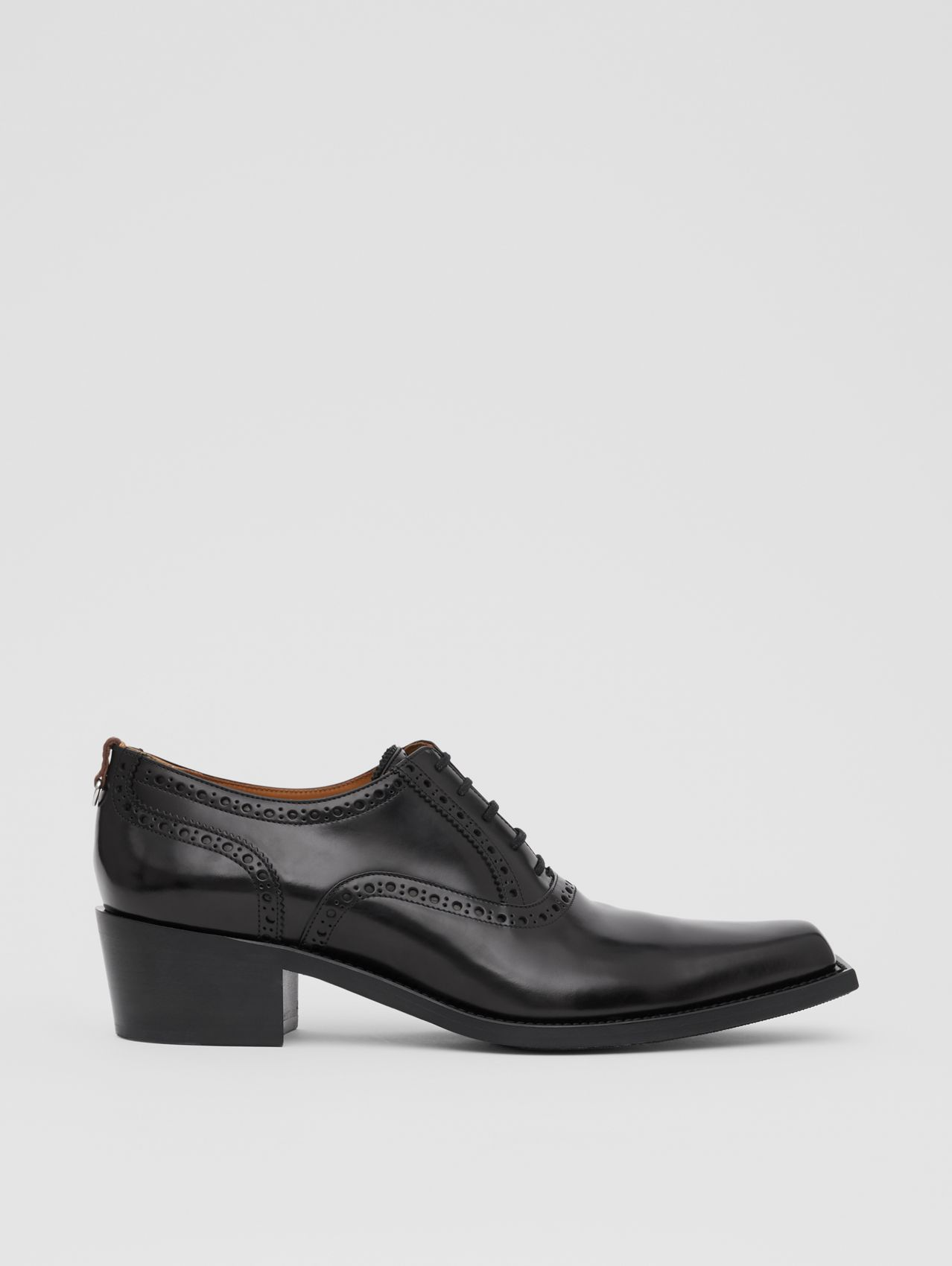 D-ring Detail Leather Heeled Oxford Brogues in Black