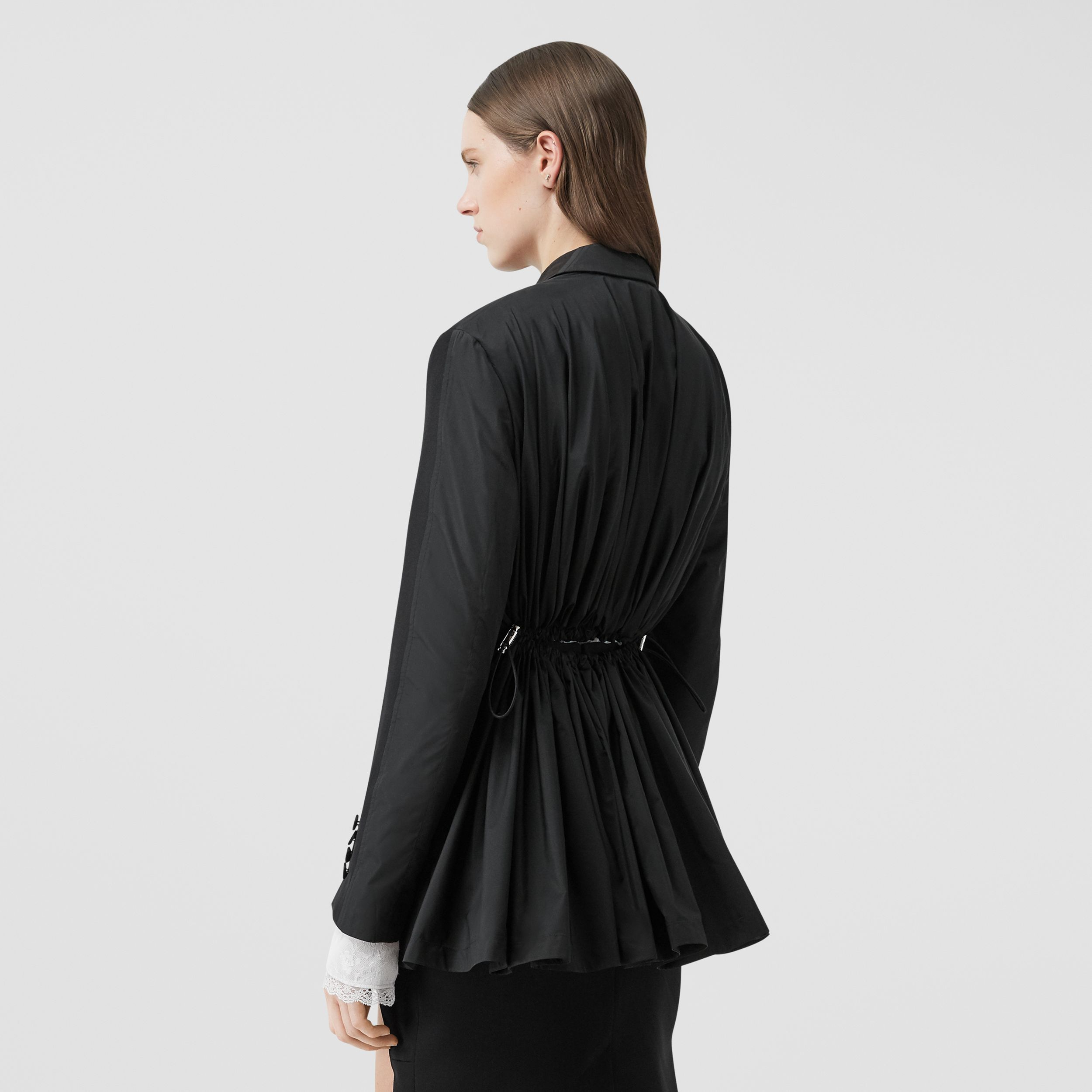 Cut-out Back Wool and Taffeta Tuxedo Jacket in Black - Women | Burberry - 3