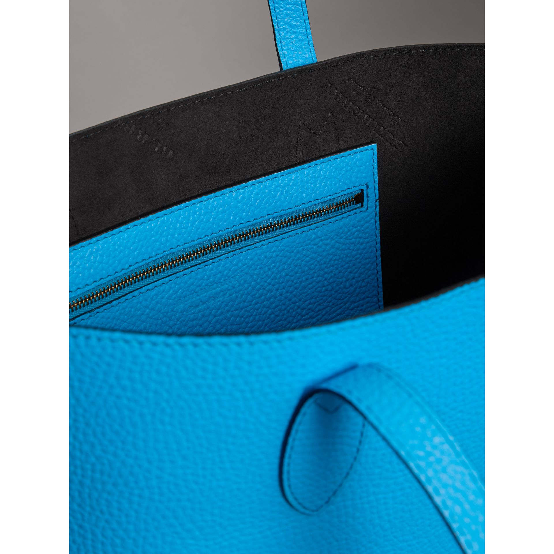Embossed Leather Tote in Neon Blue | Burberry Singapore - gallery image 5