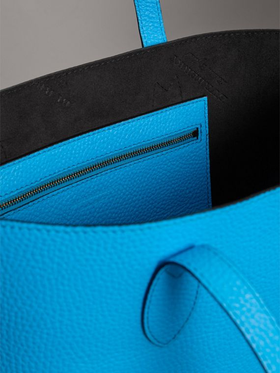 Medium Embossed Leather Tote in Neon Blue | Burberry - cell image 3