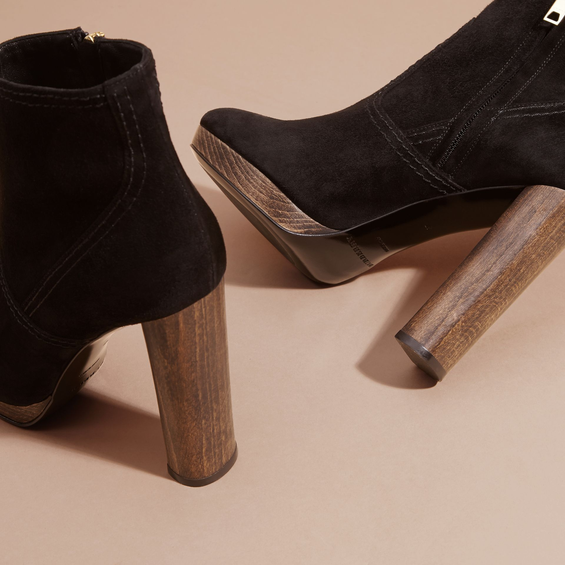 Black Suede Ankle Boots Black - gallery image 5