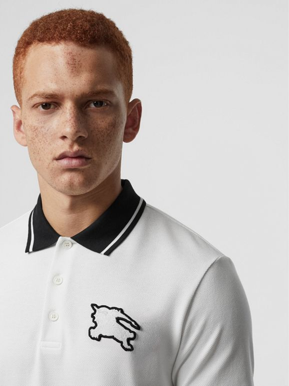Tipped Cotton Piqué Polo Shirt in White - Men | Burberry Singapore - cell image 1