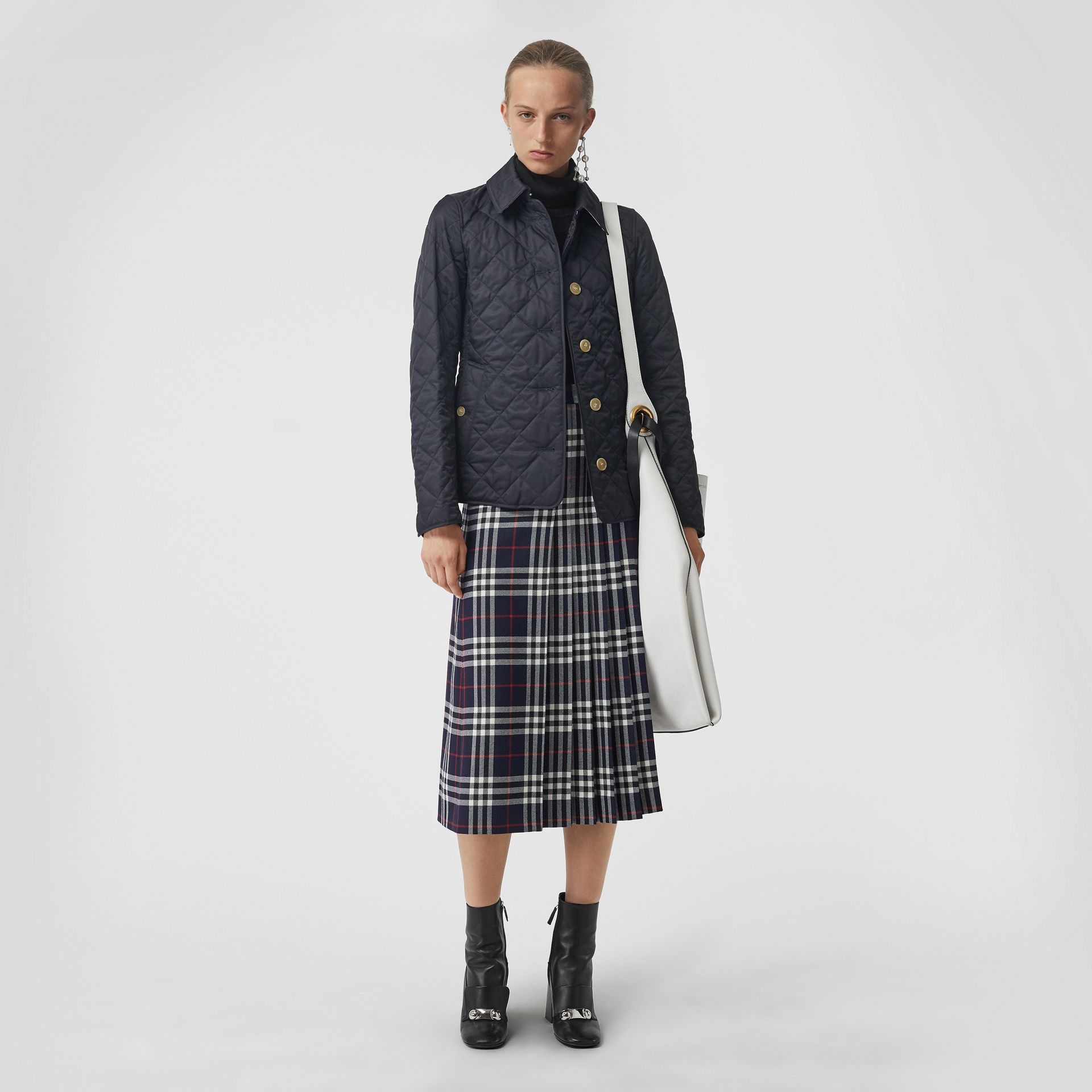 Tartan Wool Kilt in Navy - Women | Burberry United Kingdom - gallery image 0
