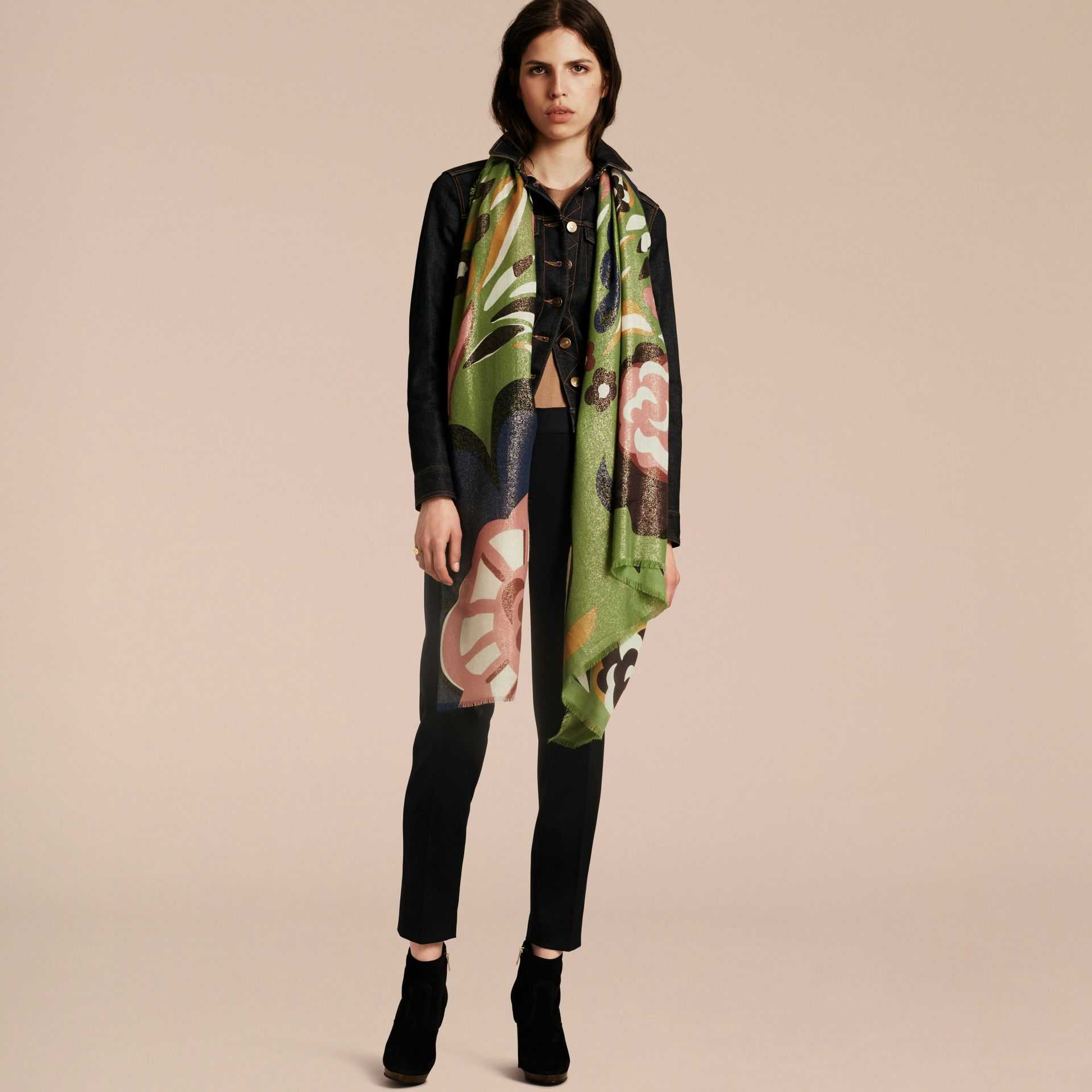 Green oxide Floral Metallic Cashmere Scarf Green Oxide - gallery image 3