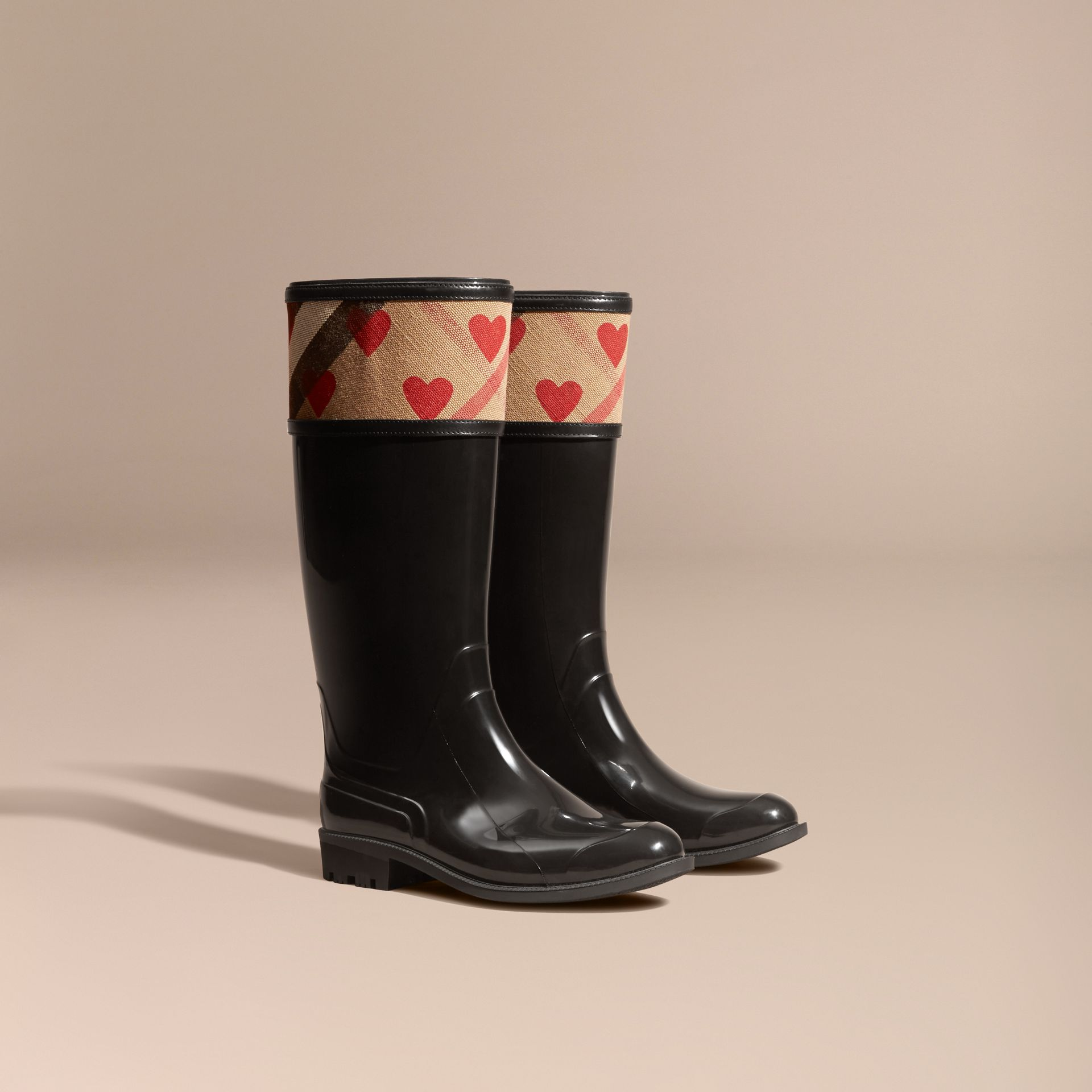 House check/parade red Heart and House Check Rain Boots - gallery image 1