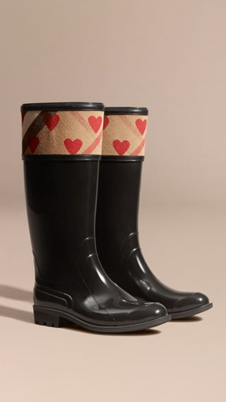 Heart and House Check Rain Boots