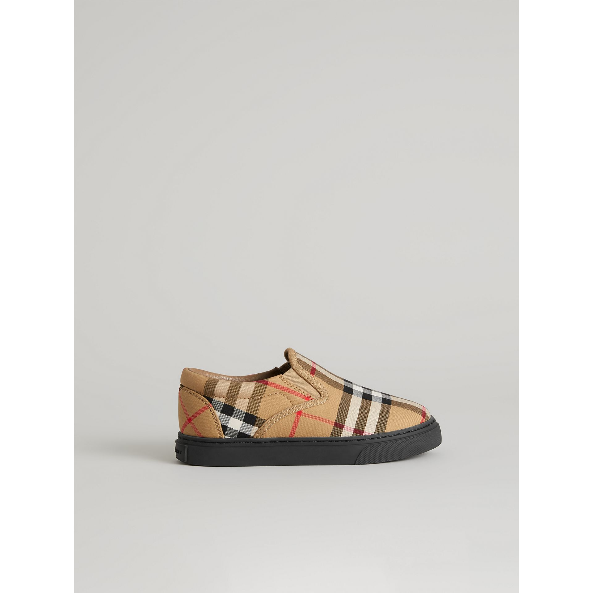Vintage Check and Leather Slip-on Sneakers in Antique Yellow/black | Burberry United Kingdom - gallery image 3