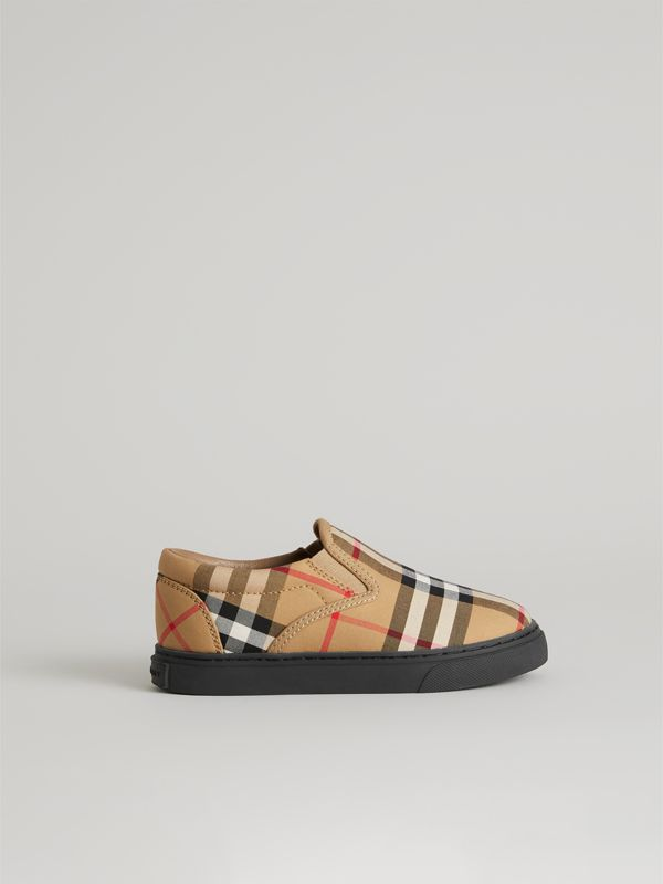Vintage Check and Leather Slip-on Sneakers in Antique Yellow/black | Burberry United Kingdom - cell image 3