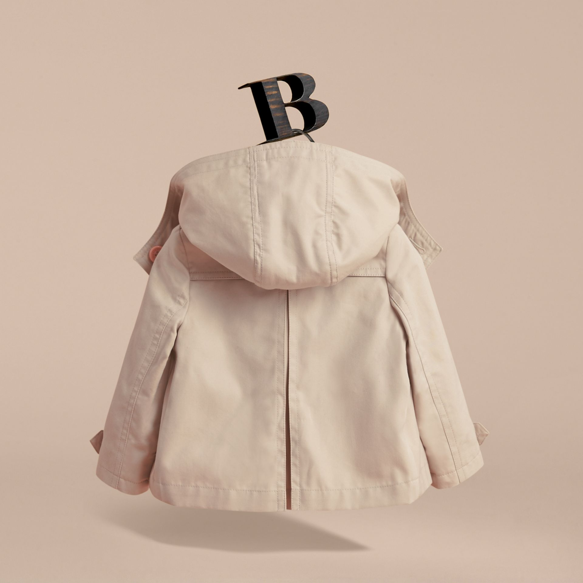 Resin Button Cotton A-line Jacket  with Detachable Hood in Stone | Burberry - gallery image 4