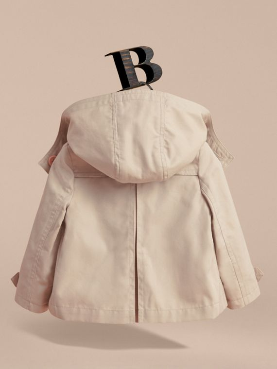 Resin Button Cotton A-line Jacket  with Detachable Hood in Stone | Burberry - cell image 3