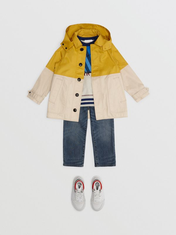 Detachable Hood Colour Block Cotton Car Coat in Gorse Yellow - Boy | Burberry - cell image 2