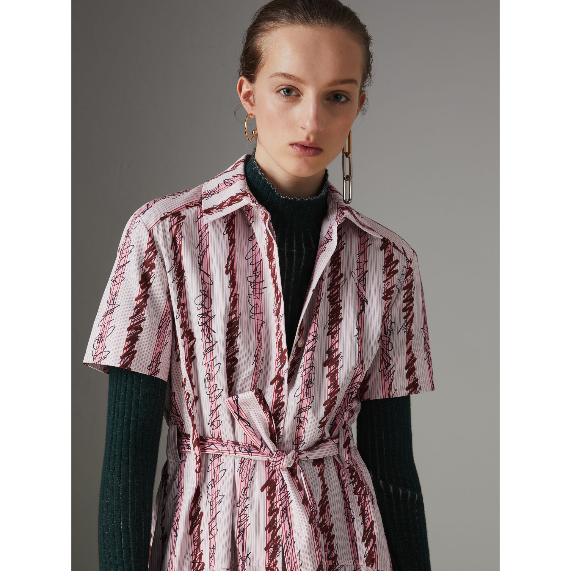 Scribble Stripe Cotton Shirt Dress in Light Pink - Women | Burberry - gallery image 1