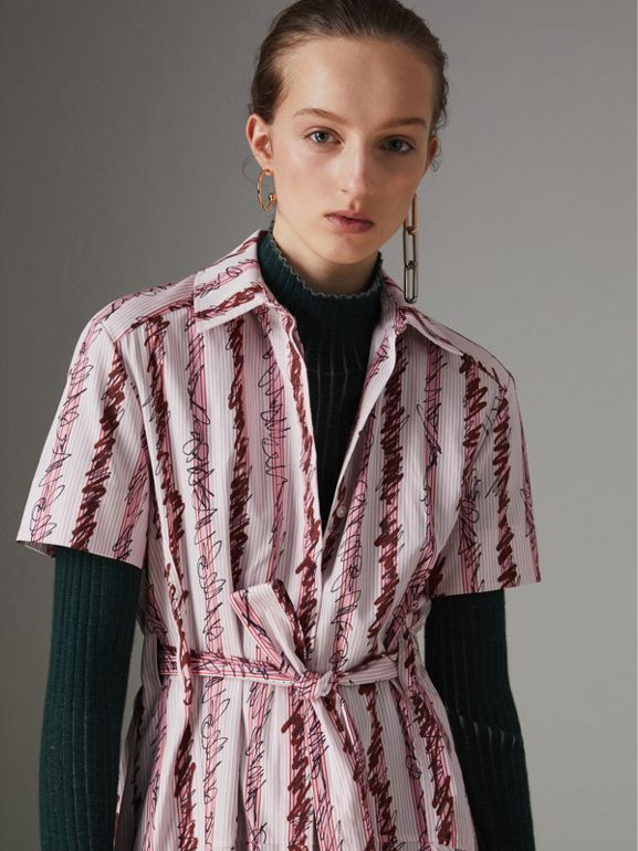 Scribble Stripe Cotton Shirt Dress in Light Pink - Women | Burberry - cell image 1